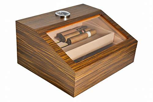 La Madera Cigars Glass and Wooden Cigar Humidor High Quality Luxury Cigar Box Holds 50 Cigars