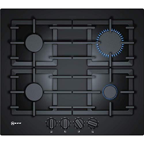 Neff T26CS49S0 N70 4-Zonen-Gas-auf-Glas-Kochfeld mit Gusseisen-Pfannenständer, 59 cm, Schwarz