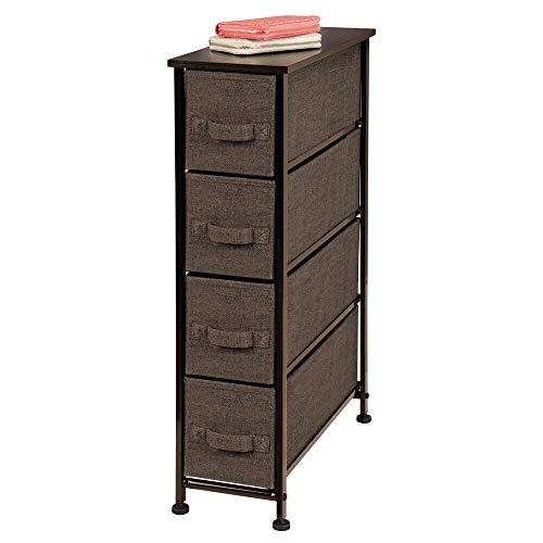 Check Out This mDesign Narrow Vertical Dresser Storage Tower – Sturdy Steel Frame, Wood Top, Easy Pull Fabric Bins – Organizer Unit for Bedroom, Hallway, Entryway, Closet – Textured Print, 4 Drawers – Espresso Brown