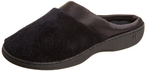 isotoner Women's Microterry PillowStep Satin Cuff Clog Slippers, Black, Large / 8.5-9 B(M) US