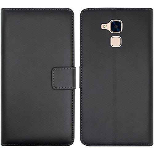 Ambaiyi Flip Echt Ledertasche Handyhülle Brieftasche Hülle Schutzhülle für Huawei Honor 5C Hülle , schwarz - 2