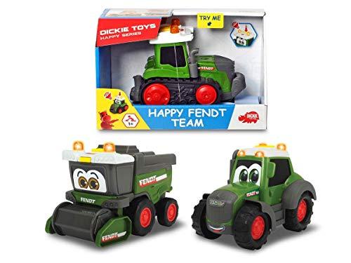 Dickie Toys Happy Fendt Team, Spielautos für Kinder ab 1 Jahr, Traktor, Raupenfahrzeug oder Mähdrescher, Spielzeugautos, Licht & Sound, 3-fach sortiert, für Kinder ab 1 Jahr, 16 cm