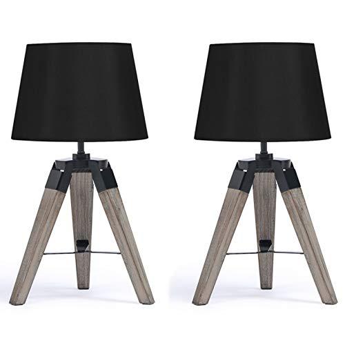 IDMarket - Lot de 2 Lampes de Chevet trépied en Bois foncé Noires
