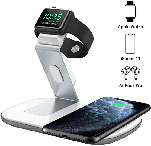 No iWatch Charging Cable, No QC 3.0 Wall Adapter Seneo 2 in 1 Dual Wireless Charging Pad with iWatch Stand for iWatch 5//4//3//2 Airpods Pro 7.5W for iPhone 11//Pro Max//XR//XS Max//XS//X//8//8P