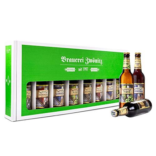 Brauerei Zwönitz Männerhandtasche Bier/Bier Geschenke mit 8 Bieren/Männer Handtasche als Vatertagsgeschenk/Bier Männerhandtasche/Bier Paket als Herrentag Geschenke / 8 × 0,5 l Flaschen