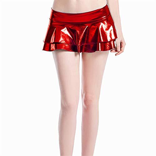 XPuing Damen Sexy Mini Rock Kunstleder Layer Dessous Micro Party Falten Tanzkleid, rot, XL