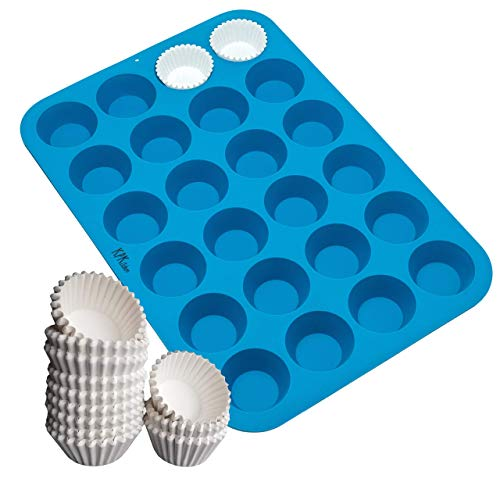 Silicone Mini Muffin Pan 24 Cup and White Mini Cupcake Liners - 300-Pack - Fits Perfectly Any Mini Muffin Baking Pan - Non Stick, BPA Free, 100% Silicon Bakeware Tin - Also great for Keto Fat Bombs