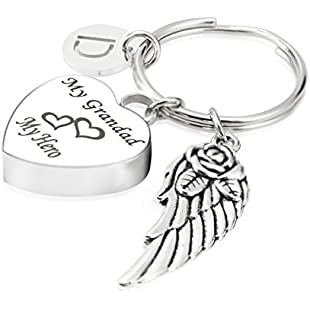 7Morning My Grandad My Hero Cremation Urn Jewellery Keychain Memorial Ash Keepsake 26 Alphabet-D Angel Wings Charms Pendant:Lidl-pl