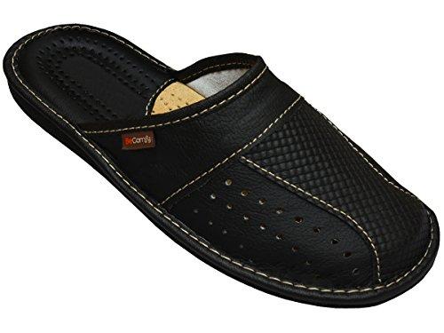 Big Size Cuir Pantoufles pour Hommes Chaussons Surdimensionnées Confortables - Pantoufles en Cuir de Grandes Tailles Noir Marron 47 48 49 50 EU (Noir, Numeric_48)
