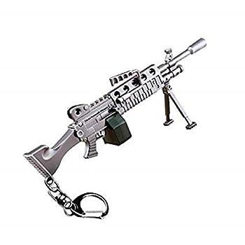 Azlink Gun Keychain Pendant for Battle Royal Game Player Light Machine Gun Legendary Guns Toys Heavy Shotgun Model Alloy Metal SMG Machine Gun Keychain Game Party Supplies Collection Gift