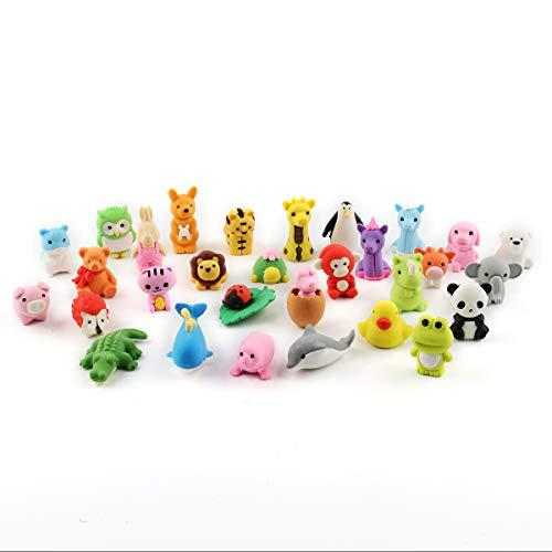Cusfull Set mit 30 Radiergummis in Form von Tieren, für Kinder, Schulen, Schüler, Schreibwaren,...