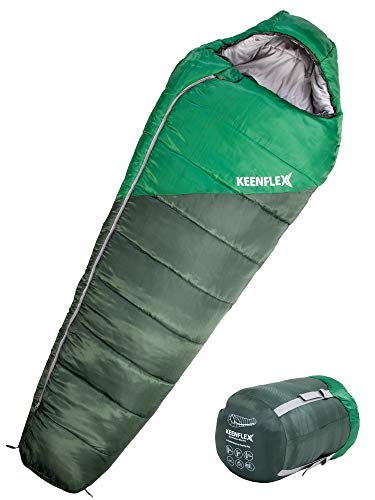 KEENFLEX Saco de Dormir de Invierno 4 Temporadas de 0ºC a -23.4ºC de Temperatura de Funcionamiento (Verde)