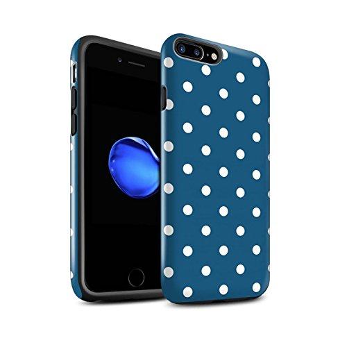 STUFF4 Lucidare Antiurto Custodia/Cover/Caso/Cassa del Telefono per Apple iPhone 7 Plus / Teal Pois / Moda Inverno disegno