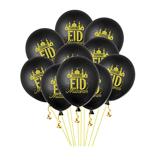 YIANGNB Globo 10 / 15pcs 12 Pulgadas Eid Mubarak Globos Gold Black Balloon Helio para la Fiesta de Aire musulmán Bola de Aire MEDICIDO DERECHETI Decoración de Ramadán Decorar (Color : Dark Khaki)