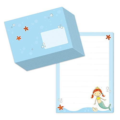 Juego de bloc de notas DIN A5 (50 hojas a rayas), incluye 20 sobres a juego/papel de carta para niñas, diseño de sirena