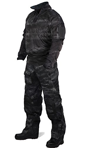 ZAPT Tactical Military Uniform Paintball Airsoft Hunting Army Camo Apparel Shirt and Pants with Elbow Knee Pads Combat Clothing (A-TACSLE, 42)