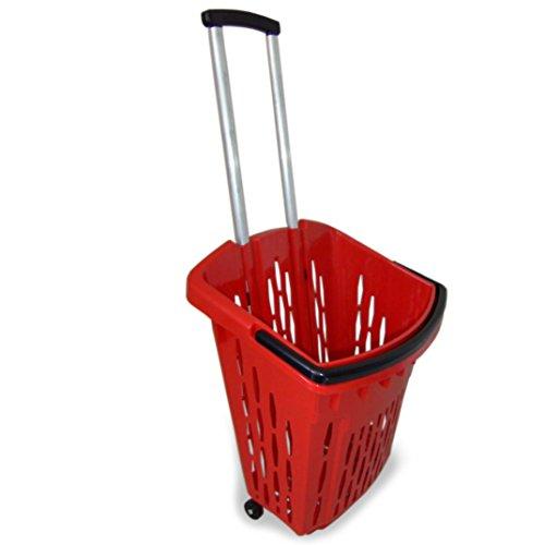 GERSO Einkaufstrolley Einkaufswagen Shopper 40 Liter Einkaufskorb mit Rollen (1, rot)