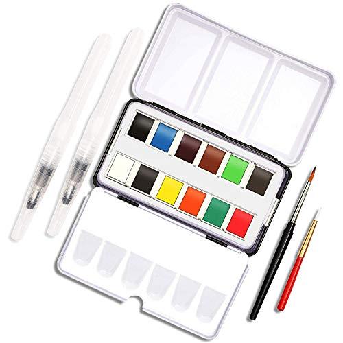 Travel Size Watercolor Paint 16 Piece Set (12 Colors)
