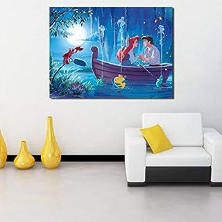Little Mermaid Wallpaper Mural Princess Ariel Canvas Posters Impresiones Arte De La Pared Pintura Imagen Decorativa Decoración del Hogar Obra De Arte Tq39 40X60Cm