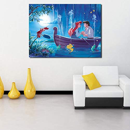 Little Mermaid Wallpaper Mural Princess Ariel Canvas Posters Impresiones Arte De La Pared Pintura Imagen Decorativa Decoración del Hogar Obra De Arte Tq39 40X60Cm