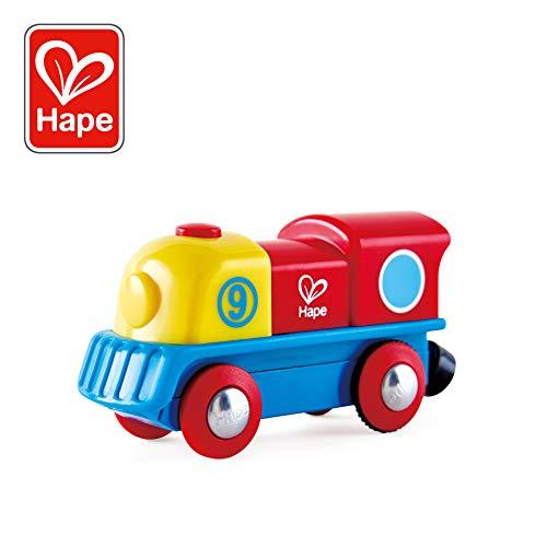 Hape-HAPE-E3820-Circuit de Train en Bois-Petit Locomotive à Moteur Brave Little Engine Circuits de Voitures, E3820, Multicolore, Taille Unique