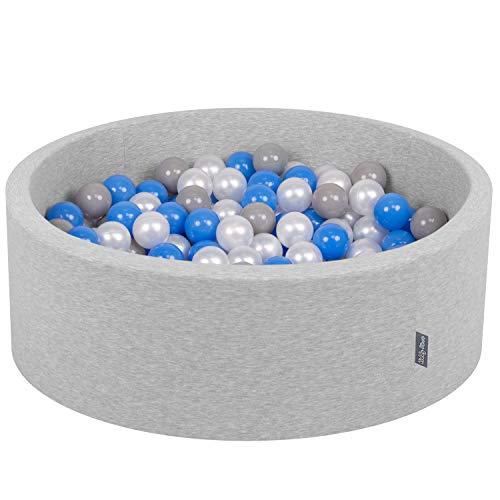 KiddyMoon 90X30cm/200 Balles ∅ 7Cm Piscine À Balles pour Bébé Rond Fabriqué en UE, Gris Clair: Perle-Gris-Bleu