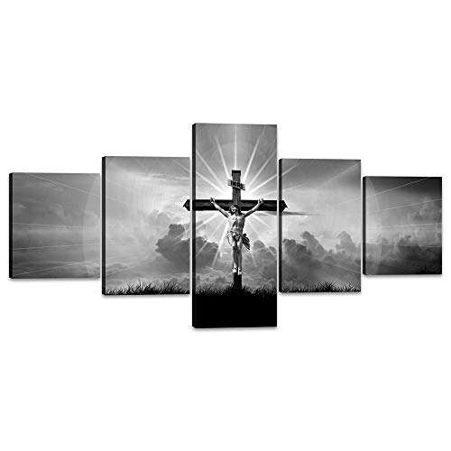 5 Pieces Living Room Home Decor Cross Canvas Wall Art Crucified Jesus Christ Painting Religion Spirituality Black and White Pictures Modern Artwork Framed Stretched Ready to Hang (50''Wx24''H)