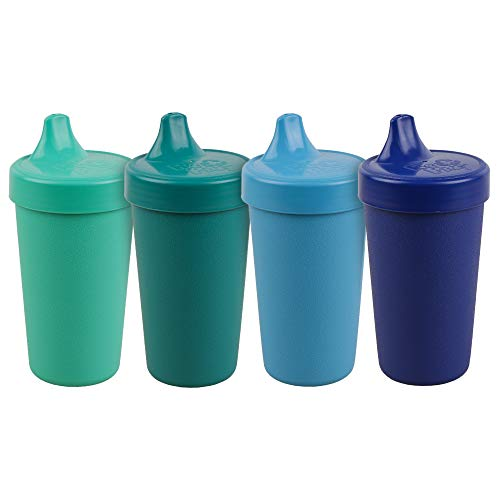 RE-PLAY 4pk - 10 oz. No Spill Sippy Cups for Baby, Toddler, and Child Feeding in Sky Blue, Aqua, Navy Blue and Teal | BPA Free | Made in USA from Eco Friendly Recycled Milk Jugs | True Blue+