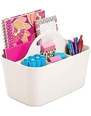 mDesign Bureauorganizer met handgreep, praktisch opbergsysteem voor bureau, gemaakt van duurzaam kunststof, draagbaar, voor scharen, pennen enz.