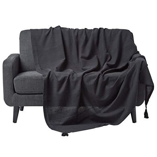 HOMESCAPES Jeté de lit ou Jeté de canapé - Noir 255x360cm – Collection Rajput 100% Coton