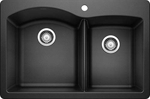 BLANCO, Anthracite 440215 DIAMOND SILGRANIT 60/40 Double Bowl Drop-In or Undermount Kitchen Sink,...
