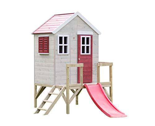 Wendi Toys M26R Kinder Gartenhaus | Spielturm mit Rutsche un Veranda 60 cm | Outdoor Kinder Spielhaus 260 x 170 x 212 cm Rot | Kinderhaus Spielhaus für draussen
