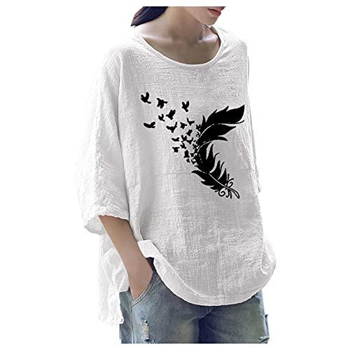 Dasongff Blusa de mujer para el tiempo libre, cuello redondo, camiseta de manga larga, monocolor, camiseta de manga larga, camiseta informal para mujer