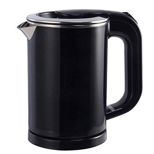 Qinmo Bouilloire, bouilloire bouillie pâtes cuisinière tasse tasse en acier inoxydable théière bouilloire bouilloire voyage eau chaude chauffage pot électrique 110v-220v (Color : Black)