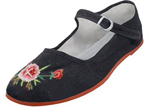 Womens Cotton Mary Jane Shoes Ballerina Ballet Flats Shoes (8, BLACK EMBROIDERED 114)