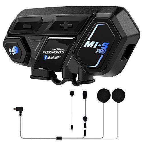 Fodsports M1-S Pro Motorrad Intercom, Wasserdicht Bluetooth Headset Motorradhelm, 8 Riders Gruppe Gegensprechanlage mit 2000 m, GPS, HiFi Musik, Universelle Konnektivität (1 Hard Mic & 1 Weiches Mic)