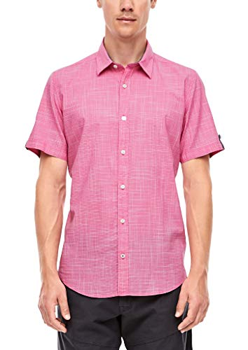 s.Oliver Herren Slim Fit: Hemd mit Turn Up-Ärmeln pink XL