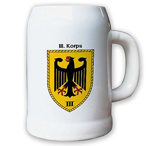 Krug/Bierkrug 0,5l -Bierkrug III. Korps 3 Einheit Bundeswehr Verbandsabzeichen Wappen Abzeichen Großverband #13024