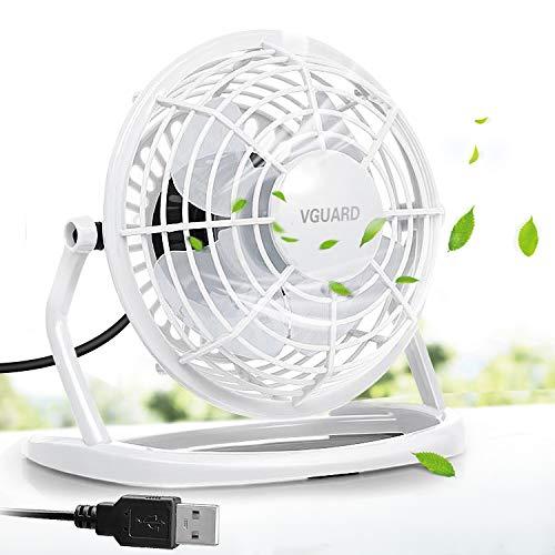 VGUARD Mini Ventilatore USB, 4 Pollici Portatile 360° Girevole Ventilatore da Tavolo Silenzioso Mini Fan Compatibile con Notebook, Computer, PC Desk per la Casa, Ufficio, Campeggio, e Altro - Bianco