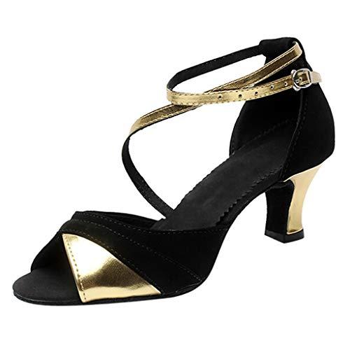 VECDY Zapatos De Baile De Salsa Latina Mujer Boca De Pez, Zapatos De Baile, Escuela Secundaria con Zapatos De Baile Cuadrados De Fondo Suave Zapatos De Fiesta