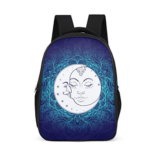 Mochila de guardería con diseño de Sol, Luna, Mandala, Mochila Escolar para niños y niñas Negro Negro 32x18x42 cm
