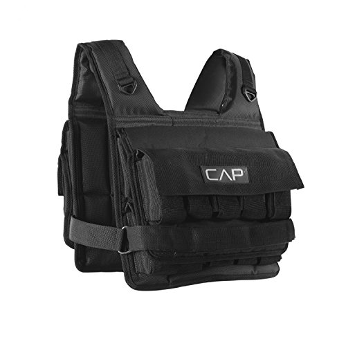 Cap Barbell Unisexs HHWV CB020S Adjustable Weighted Vest 20 lb Short 20 Pound Black