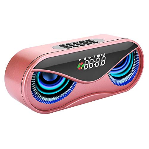 Hopcd Caja de Altavoz Bluetooth, Reloj Despertador multifunción Altavoz Bluetooth, Altavoz Bluetooth de luz Colorida Intermitente con Aviso de Voz/transmisión(Rosado)