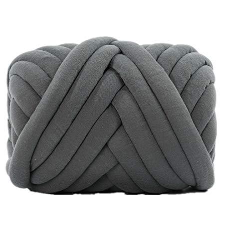 Arm Knitting Yarn 2 lbs Chunky Braid Cotton Blanket Yarn for Handmade DIY Throw Blanket Pet Bed Crib Bumper,Easy Care Yarn (Dark Grey, 2 lbs)