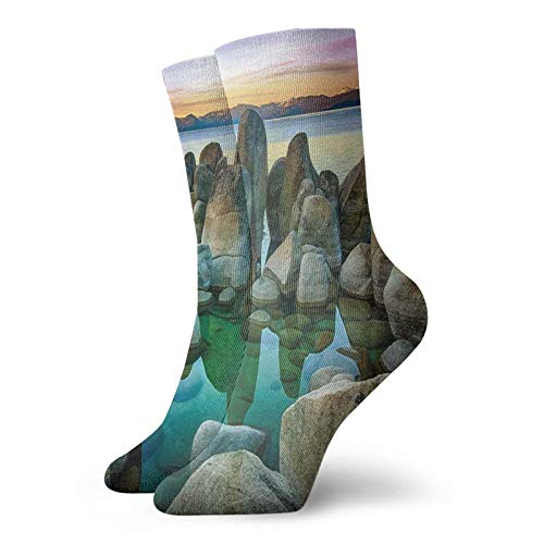 Neutral fun novelty short socks,Various Sized Condensed Rocks In River At Evening Time When Lamps Down Marine Theme,Fashion breathable socks for Men and Women