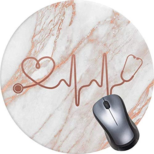 OTCEO Mouse Pad, Round Mandala Mouse Mat, Cute Mouse Pad with Design, Non-Slip Rubber Base Mousepad,Waterproof Office Mouse Pad, Small Size-Rose Gold Marble Heart White
