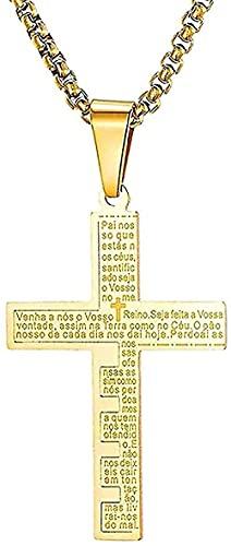 LBBYLFFF Halskette Kragen Mode Klassische Persönlichkeit Männer Frauen Modern Pop Latin Spanier Bibel Vater Unser Kreuz Anhänger Halskette