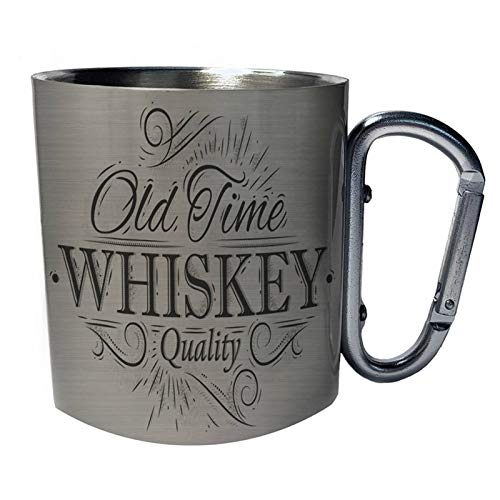Old time whiskey quality retro Taza de viaje mosquetón de acero inoxidable 11oz ii679c