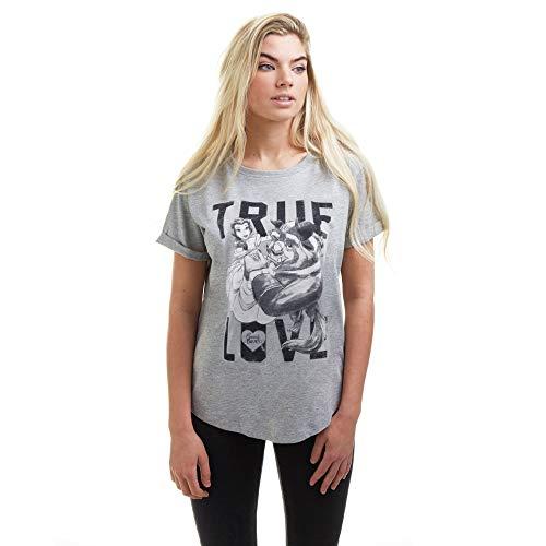 Disney True Love T-Shirt, Gris (Sport Grey), XL Femme