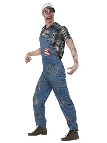 SMIFFYS Costume montanaro zombie da uomo, Blu, con salopette, costole in lattice, camici
